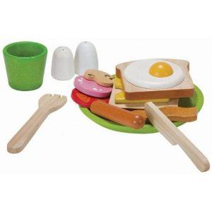 Desayuno de juguete en madera de Plan Toys. Comida de madera infantil