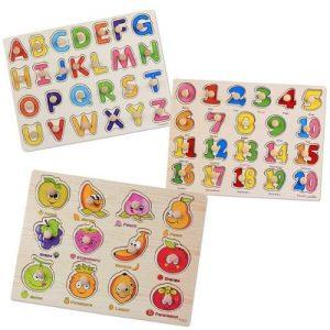 puzzle de madera para aprender abecedario números y frutas