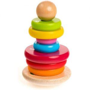 apilador de madera infantil Rolimate. Pirámide de equilibrio para niños