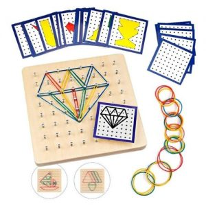 Rompecabezas de madera geométrico con gomas Montessori