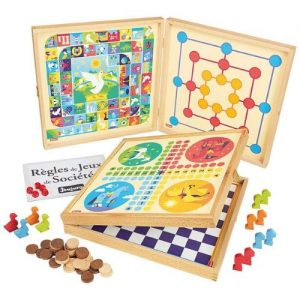 Set de juegos de mesa de madera parchís, oca, ajedrez