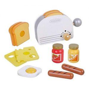 tostadora y alimentos de madera infantiles para jugar