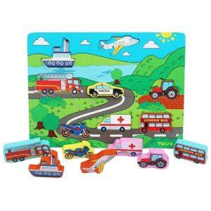 Puzzle infantil de madera con formas de vehículos Towo