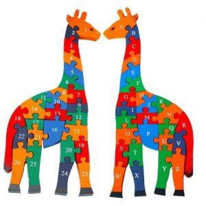 Rompecabezas puzzle de madera con forma de jirafa Toys of Wood Oxford