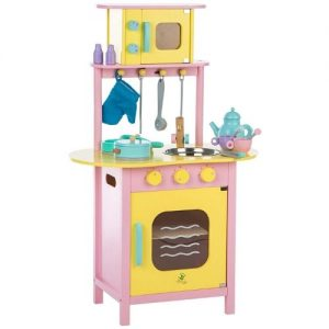 cocina amarilla y rosa de madera infantil Ultrakids con horno y microondas de juguete en madera