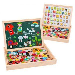 Puzle de madera para niños con actividades y tablero magnético Uping