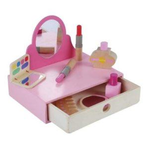 Tocador y set de maquillaje en madera.Juguete respetuoso con el medio ambiente