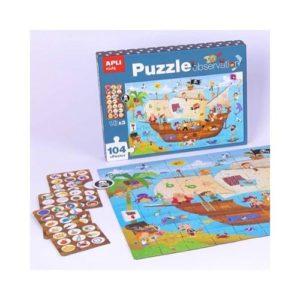 Puzzle de observación de 104 piezas de cartón ecológico sobre un barco pirara de Apli Kids. Rompecabezas con fichas para buscar objetos