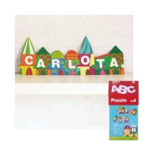 Puzles de cartón ecológico de letras con forma de casa de Apli Kids. Rompecabezas ecológico con caja de cartón con forma de casa