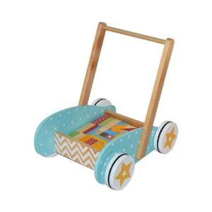 Carrito andador de bebé en madera con bloques de construcción de Betoys. Juguete respetuoso con el medio ambiente