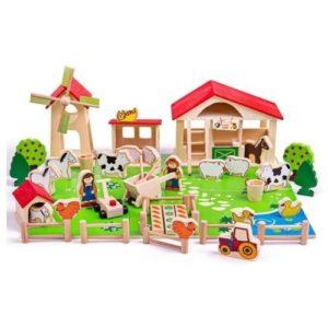 Granja de madera de juguete de Bigjigs. Juguete respetuoso con el medio ambiente