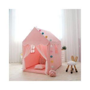 Carpa casa infantil de tela de algodón en color rosa. Juguete ecológico