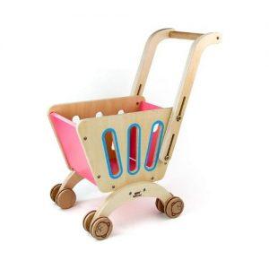 Carrito de la compra en madera para niñas. Juguete ecológico