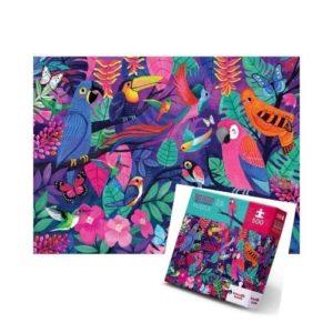 Puzzle de 500 piezas de cartón ecológico sobre pájaros y mariposas rosas de Crocodile Creek. Rompecabezas artístico con aves del paraíso