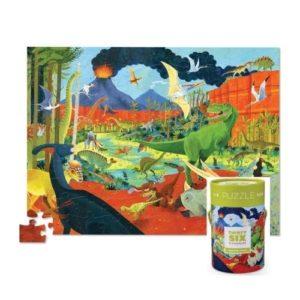 Puzles de cartón ecológico de 100 piezas sobre dinosaurios de Crocodile Creek. Rompecabezas ecológico infantil