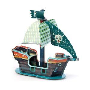 Barco pirata de cartón para ensamblar de Djeco. Juguete ecológico