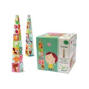 Cubos apilables de cartón de Djeco. Juego ecológico para babyshower