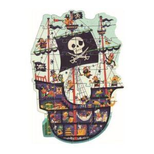 Puzles de cartón ecológico de Djeco con forma de barco pirata. Rompecabezas infantil ecológico