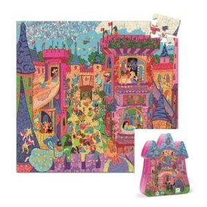 Puzzle infantil de cartón ecológico de Djeco con temática de castillos y princesas. Rompecabezas con maletín con silueta de castillo