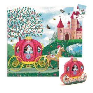 Puzles de cartón ecológico de 54 piezas con princesas y carruaje de Djeco. Rompecabezas infantil con maleta