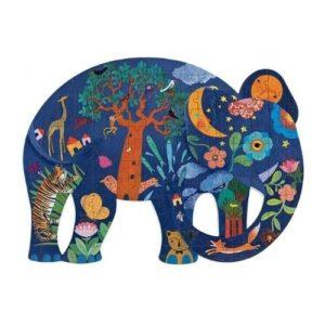 Puzzle de 150 piezas de cartón ecológico de Djeco con forma de elefante. Rompecabezas artístico infantil ecológico