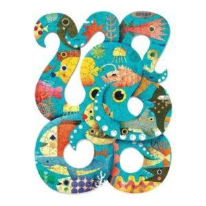 Puzzle con forma de pulpo (octopus) sobre el fondo marino de Djeco. Rompecabezas de cartón ecológico
