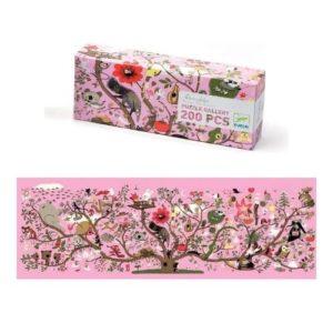 Puzzle de cartón ecológico de 200 piezas con ilustración de Marc Boutavant. Rompecabezas de animales con fondo rosa Abracadabra de Djeco