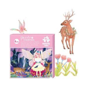 Puzzle de cartón ecológico de hadas de Endu. Rompecabezas de dibujos animados butterfly Fairy