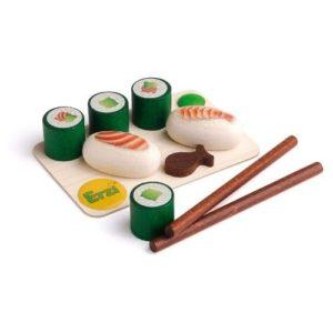 Juego ecológico de preparar sushi en madera de la marca Erzi