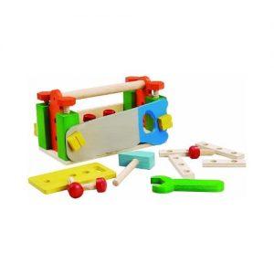 Caja y banco de herramientas de bricolaje en madera para niños pequeños