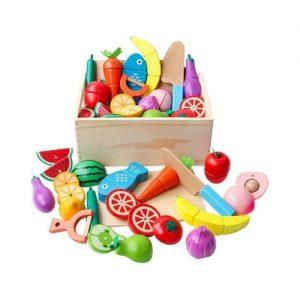 Alimentos de juguete en madera para niños. Juguetes ecológicos
