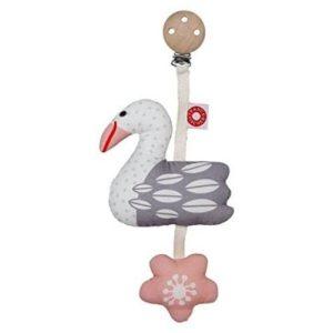 Chupetero de pájaro en tejido ecológico para bebés y recién nacidos de Frank & Fichser. Regalos para babyshower