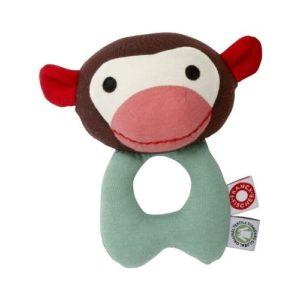 Sonajero de mono en tela ecológica de Frank & Fischer. Regalo para babyshower