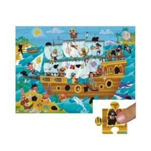 Puzles de cartón ecológico para niños sobre un barco pirata. Rompecabezas mágico