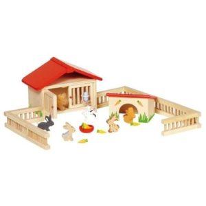 Establo de conejos de juguete en madera de Goki. Juguete respetuoso con el medio ambiente
