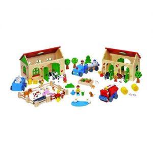 Granja de juguete en madera con accesorios