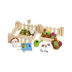 Jardín para casas de muñecas de madera de la marca Goki