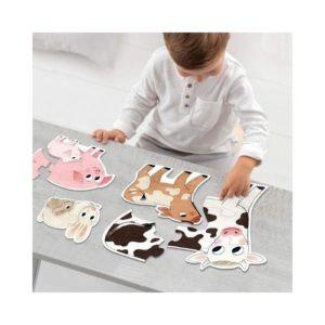 goula puzzle rompecabezas evolutivo en cartón ecológico sobre los animales de la granja con sus bebés