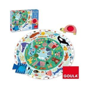 Puzzle de 25 piezas XXL de Goula con gafas decodificadores para descubrir animales. Rompecabezas de cartón ecológico infantil
