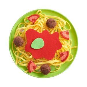 Plato de pasta spaguetti de juguete de Haba. Alimentos de tela ecológicos