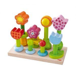Juego de apilar bloque de madera con forma de flores de Haba