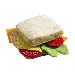 Bocadillo sandwich de juguete de tela de Haba. Alimentos de tela ecológicos