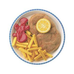 Escalope con patatas de juguete de Haba. Alimentos de tela ecológica