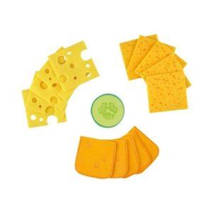 Lonchas de queso de fieltro de Haba. Alimentos de tela ecológica