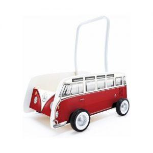Andador de madera infantil con forma de furgoneta Volkswagen. Juguetes ecológicos