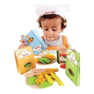Set para preparar pasta de juguete en madera y fieltro de Hape Juguete respetuoso con el medio ambiente