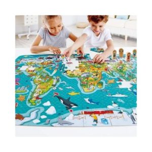 Puzles de cartón ecológico sobre el mapa de mundo (mapamundi) de Hape. Rompecabezas infantil con países del mundo