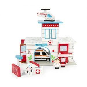 Hospital de juguete con accesorios de madera de Leomark. Juguete ecológico