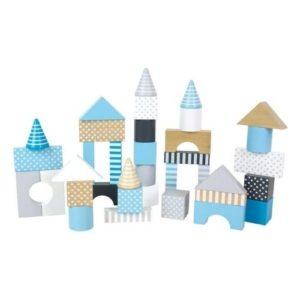 Bloques de construccion de madera en color azul de Jabadabado. Juguete respetuoso con el medio ambiente
