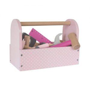 Caja de herramientas de juguete en color rosa